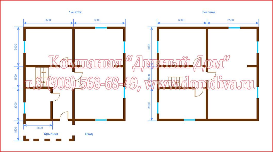 дома из кирпича и газосиликатных блоков с котельной 7х7,проекты
